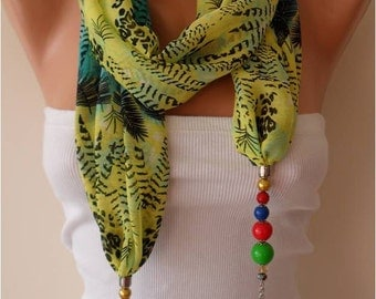 Jewelry Shawl Scarf Headband - Fabric with Beads and Chain