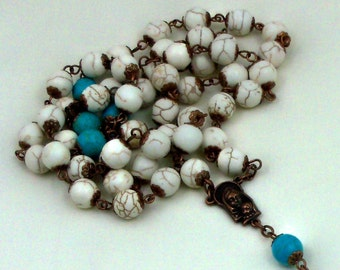 Rosary Prayer Beads  Blue White Magnesite 10mm Beads