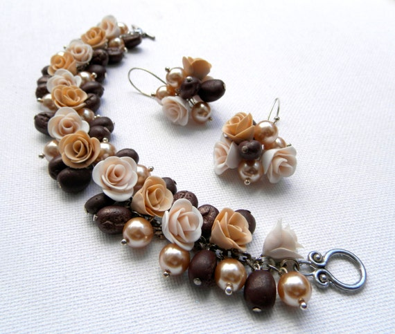 Roses Coffee Jewelry Flower Jewelry Brown Jewelry Elegant Jewelry Flower Bracelet Flower Earrings Pearl Jewelry Gift For Her Flowers
