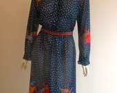 70s Colourful Floral Dress Size 14 Stunning!