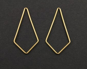 24K Gold Vermeil Over Sterling Silver Diamond Shape Plain Chandelier Finding, Lovely Jewelry Components for Earrings, 1 Piece (VM/747/17x34)