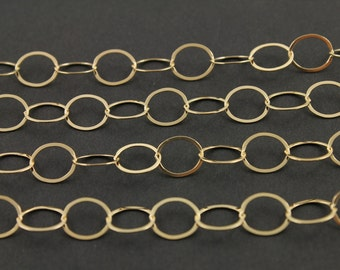 14k Gold Filled Flat Oval Links Chain Bright Polished 10X9 mm elongated links,Sold by the Foot, GF-693F (159)
