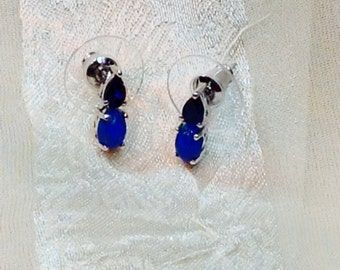 Blue Opal & Sapphire Earrings Handmade Jewelry Platinum Over Sterling Silver