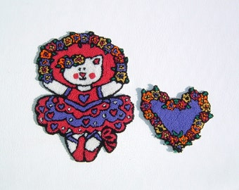 2 Awesome Embroidered Appliques Kitty the Ballerina and Matching Heart