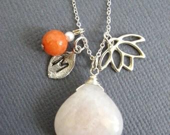 White jade gemstone necklace, bridesmaid initial necklace, wedding jewelry, Birthstone Lotus charm necklace,
