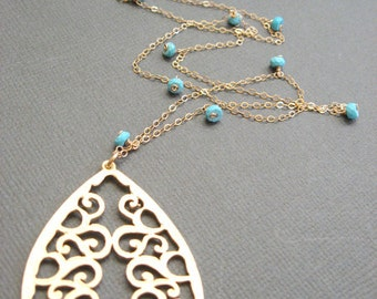 Long Gold Necklace with 18K vermeil Filigree Pendant, Large pendant necklace, Long Gold Necklace Drop Pendant Jewellery,