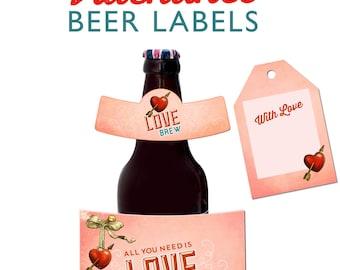 Printable Valentines Day Beer Bottle labels