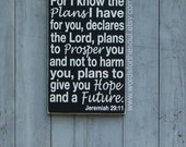 Jeremiah 29:11 Christian Scripture Subway Art Wooden Sign Painting Inspirational Nursery graduation gift
