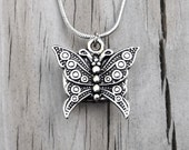 Clockpunk Steampunk Reversible Necklace, Stainless Steel Watch Movement & Antiqued Silver Butterfly Pendant on Serpentine Chain