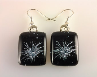 Dichroic Earrings, Fused Glass Jewelry, Silver Fireworks Dichroic Earrings