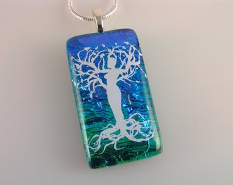 Dichroic Woman Tree of Life Pendant, Fused Glass Jewelry, Female Tree Dichroic Necklace