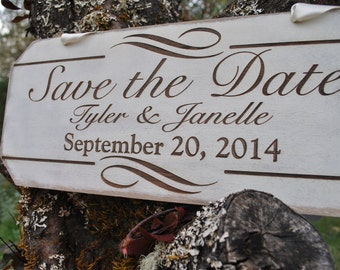 Personalized Save the Date Engagement Sign: Rustic Handmade Laser Etched Photo Prop