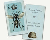 250+ PRINTED Business Cards- QUEEN (or King) Bee - Personal card - Bride - College Student