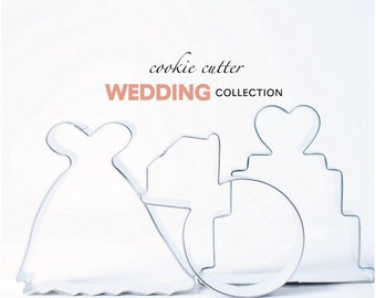 Wedding Cookie Cutter Collection Set - 3 piece - Cake - Diamond - Gown - Custom Cookies - Bridal