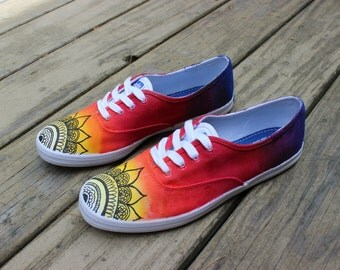 Vans/ Keds - Mandala Henna/ Mehndi Sunset Design + Custom Hand Painted
