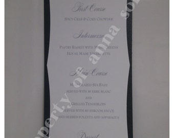 MENU for Weddings and any Elegant Event - Die Cut Double Layer with Rhinestone- Personalized Color and Motif at no extra charge