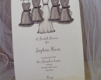 BRIDAL SHOWER INVITATIONS  - Bridal Shower Invites Personalized with Bride and Bridesmaid Dress artwork, choose your font and font color