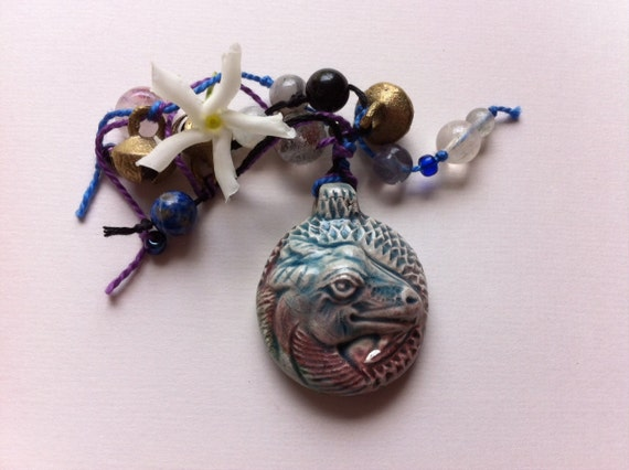 Good Lucky Dragon, A Pagan Made Good Luck Charm, Talisman / Dream Catcher/ Meditation Beads