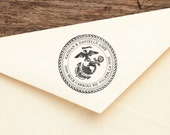 USMC Crest - Personalized Address Stamp - Military - FREE SHIPPING