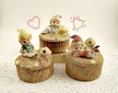 3 Gnome Pixie Elf Trinket Box Vintage Jewelry Box Keepsake