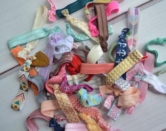 Elastic Hair Ties Grab bag of 20 solid and pattern, no tug hair ties, elastic hair tie, hair accessories, baby girl hair ties