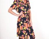 20% SALE Vintage color block dress midi shirt dress women size small - medium