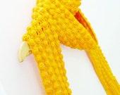 Woman's wool scarf, yellow winter long neckwarmer, crochet infinity scarf