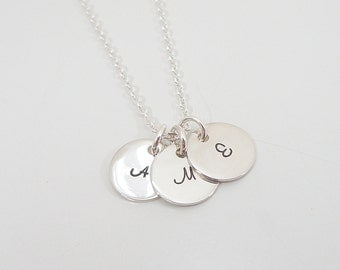 "Tiny Sterling Silver Initial Necklace - 3/8"" Initial Discs - 3 Initials - Hand Stamped Mommy Necklace - Triple Initial Necklace"
