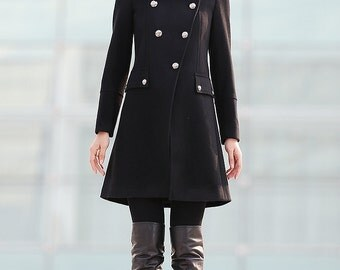 Military Coat, winter coat, wool coat, coat, jacket, womens coats, Modern coat, black coat, midi coat, asymmetrical coat  C222