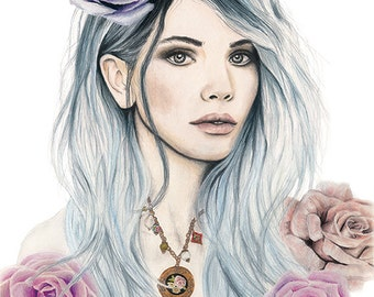 Lilac Rose - Watercolour & Graphite Fashion Illustration - Giclee Art Print