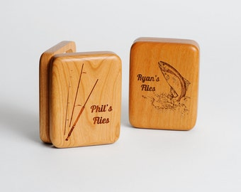 1, Personalized Fly Fishing Box, Father's Day Gift, Engraved Fishing Fly Box, Personalized Wood Fly Box, 1 Small Fly Box