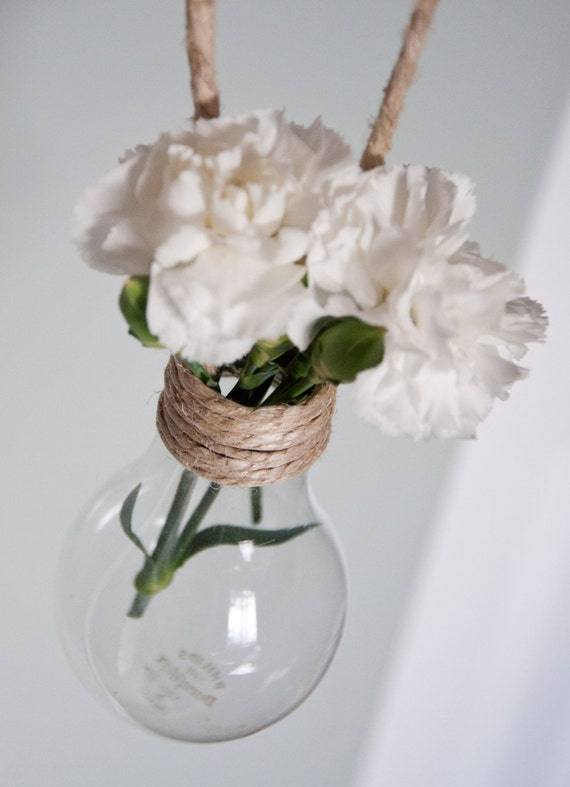 Set di 18 appesi vasi lampadina con iuta naturale e di for Vasi appesi