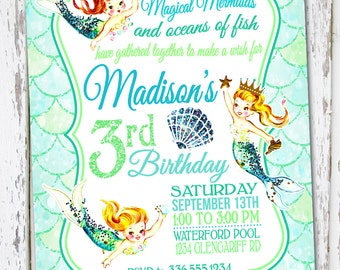 Mermaid Invitation, Mermaid invite, Mermaid Birthday