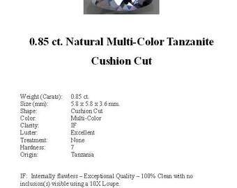 TANZANITE - Stunning 0.85 ct. Natural Multi-Color Tanzanite in a Beautiful Square Cushion Cut...