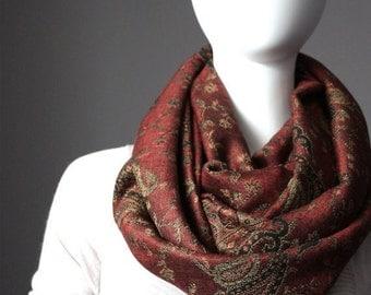 Rust brown scarf, Caramel brown scarf, floral scarf, autumn colors scarf, pashmina