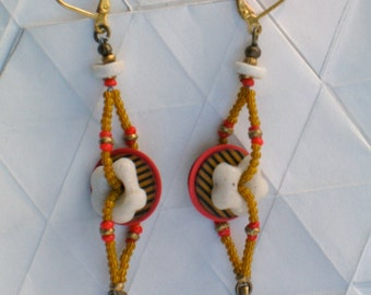 Multicolored African Bead Earrings - Joie de Vivre Earrings - White, Yellow and Red African Glass Beads and Brass Earrings -