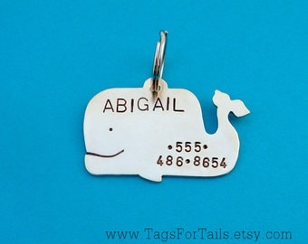 Happy Whale Pet Tag - Custom Dog and Cat Pet ID-  Handmade
