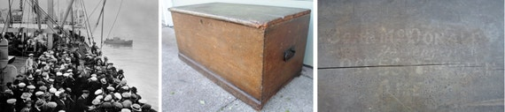 Antique Immigrant's Trunk, Scottish, Chest,1800'S, Blanket Chest, Primitive, Coffee Table, Vintage, Pine, Ship, Steamer Trunk