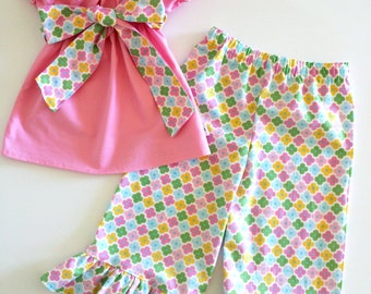 Girls Easter Flower Peasant Capri Set, Spring outfit, Girls outfit, Girls Easter Capri