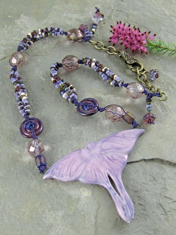 Luna Moth Necklace by Linda Landig Jewelry