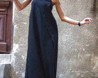 XXL,XXXL Maxi Dress / Black Kaftan Linen Dress / One Shoulder Dress / Extravagant Long  Dress / Party Dress  by AAKASHA A03144