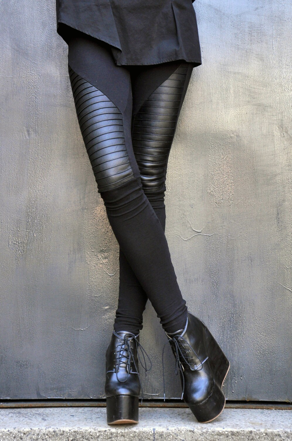 NEW COLLECTION Black Extra Long Leggings / Genuine Leather