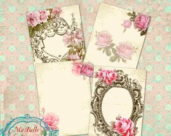 Shabby Chic ATC Collage Sheet with Vintage Roses and Frames, digital download