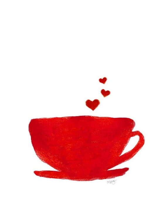 Retro Kitchen Art, Coffee Art Print, 8x10 Red Watercolor Print, Diner Art, Coffee Cup Painting, Kitchen Watercolor, Red Kitchen Art,