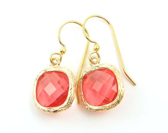 Coral Drop Earrings, Coral Gold Earrings, Crystal Coral Drop, Faceted Stone Gold Dangle Earrings |CJ1-14