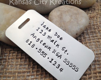 Hand-Stamped Aluminum Luggage Tag