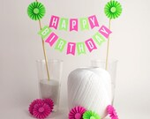Cake Bunting in Pink & Green, Happy Birthday with Rosette