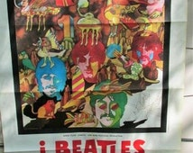 Vintage Beatles Poster, Beatles Yellow Submarine Italian Poster, Beatles movie poster, Yellow Submarine Authentic, Movie Poster, Media Room