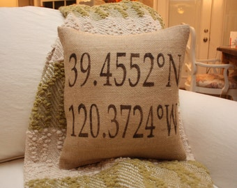 Raleigh, NC Coordinates Pillow Customizable for any city / Address / Location / Home Address Pillow / Longitude