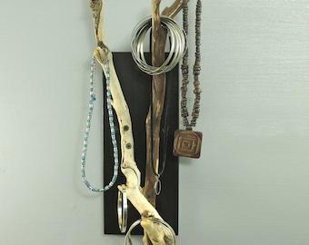 Wall Mounted Driftwood Key Hooks And Jewelry Organizer